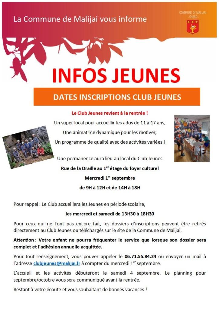 Flyer Club Jeunes RENTREE 2021-2022