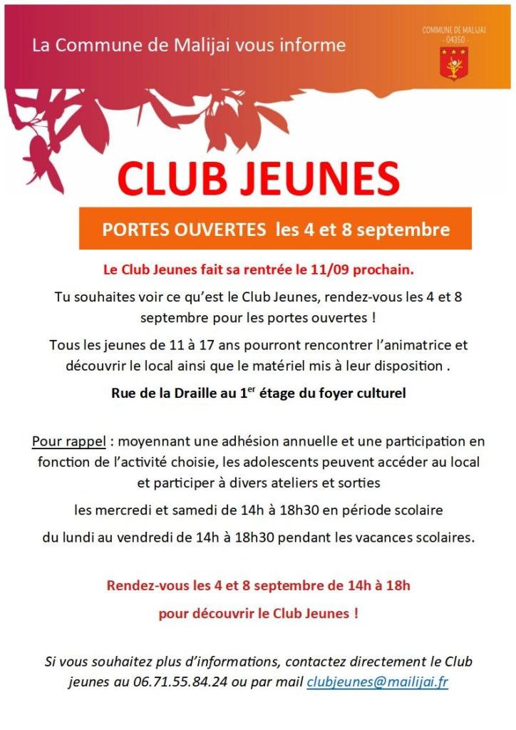 Flyer Club Jeunes PORTES OUVERTES