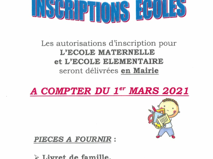 Ecole Inscription 2021