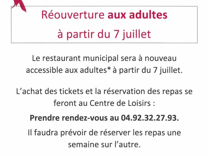 Réouverture du restaurant municipal aux adultes